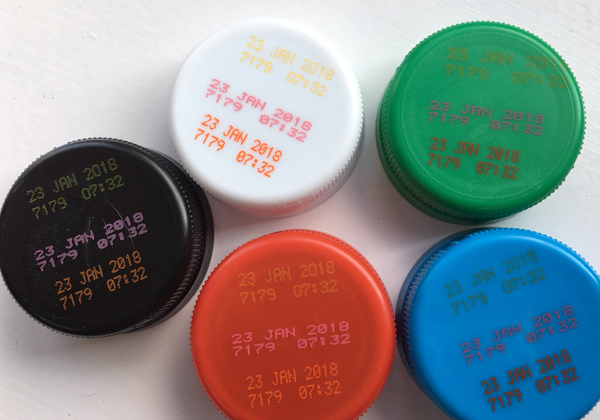 600x420 Coloured Bottle Caps with Sample Code