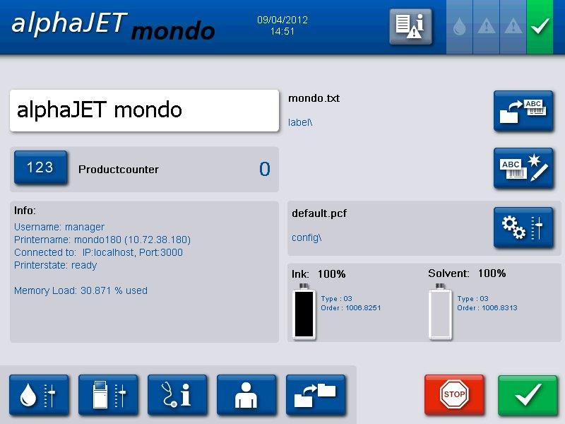 alphaJET MONDO Inkjet Coder Touchscreen