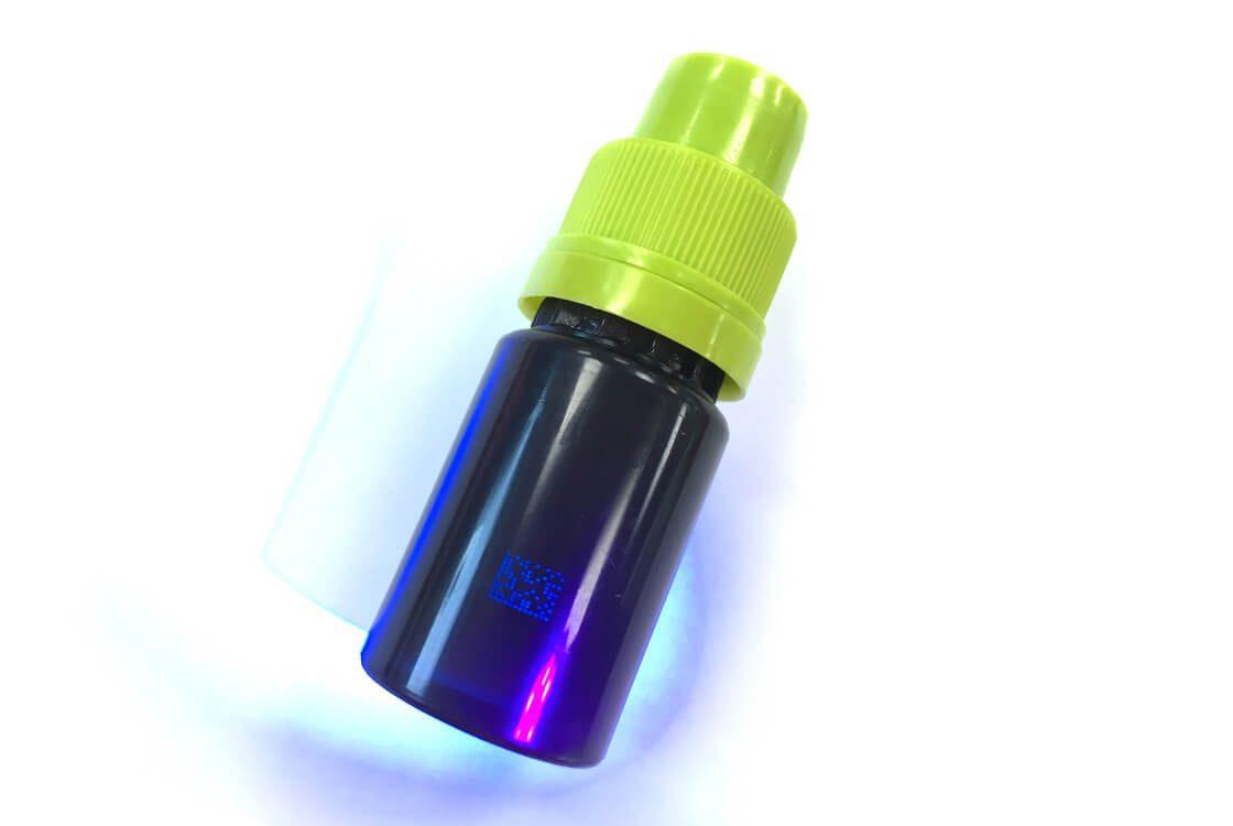 2D datamatrix code UV ink plastic