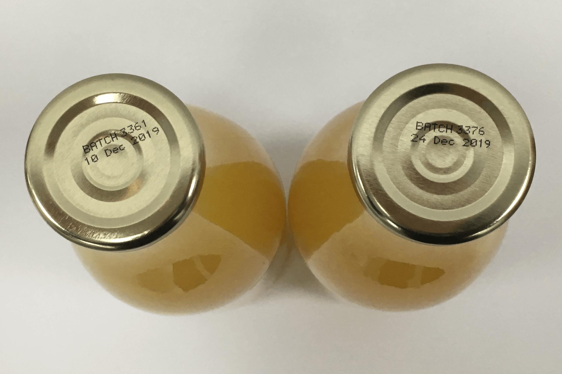 Batch Code Printer Metal Juice Bottle Lids PrintSafe