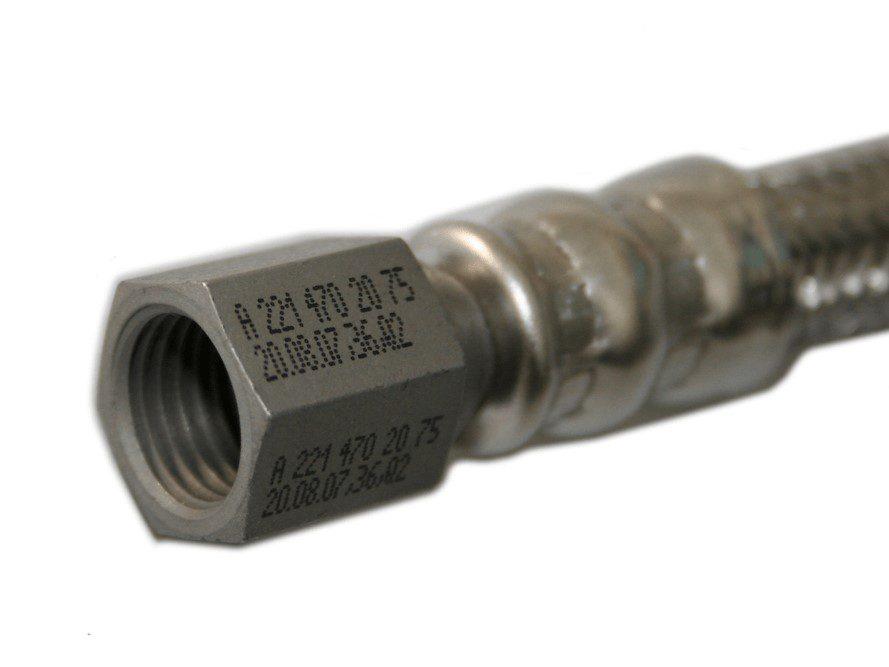 ndustrial inkjet printer part code on metal hose connector PrintSafe
